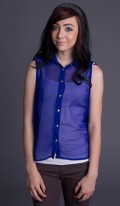 Blue Sheer Sleeveless Blouse
