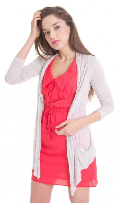 Open Cardigan - Heather Taupe