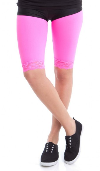 Neon Lace Trim Bike Shorts