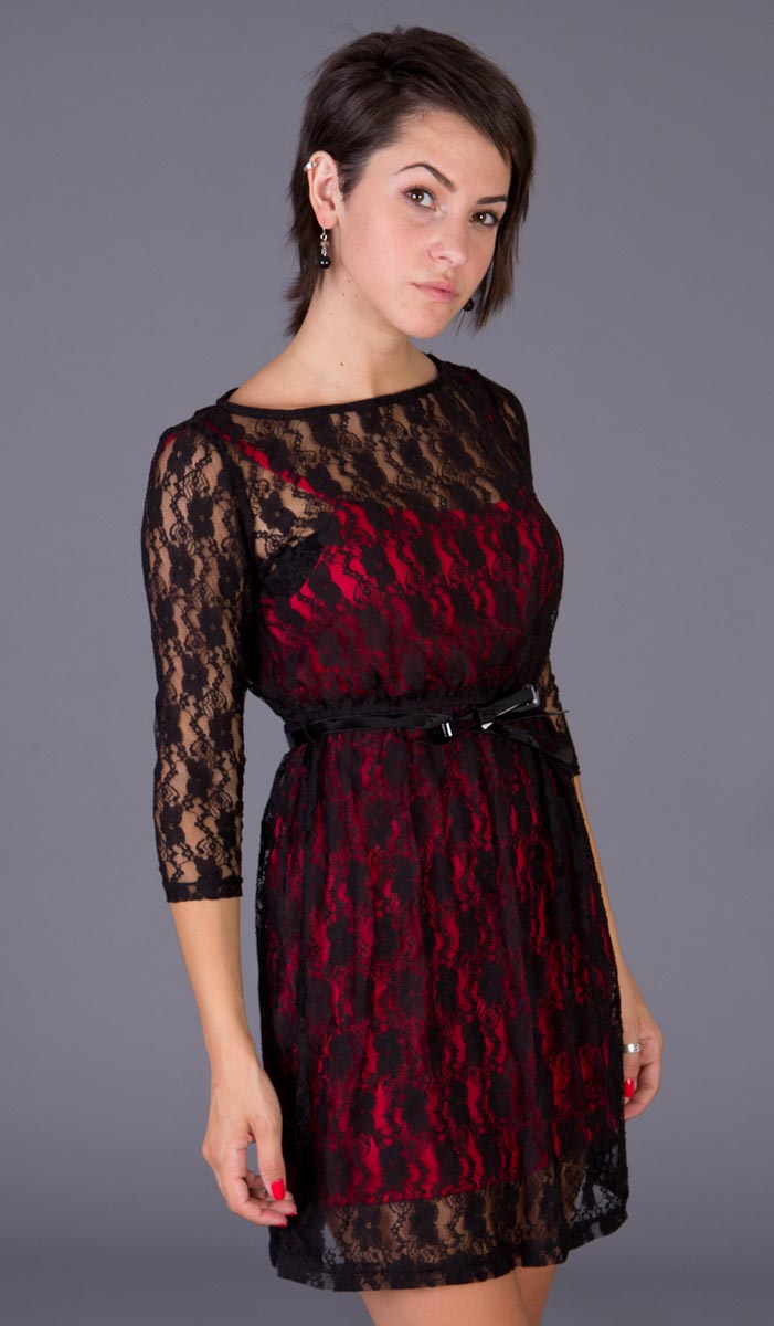 Red And Black Lace Dress Next - Evening Wear