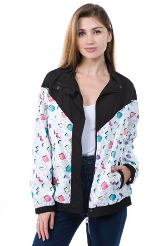 Black 90s Print Windbreaker