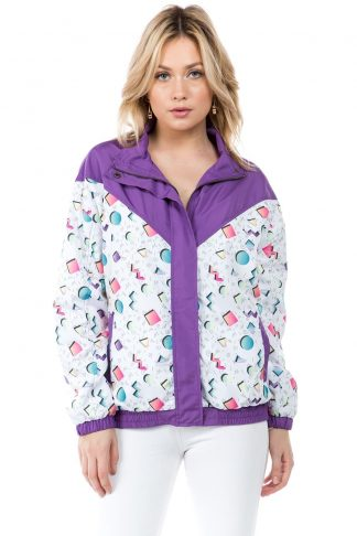 Purple 90s Print Windbreaker