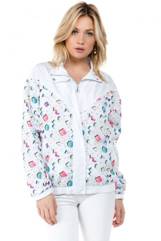 White 90s Print Windbreaker