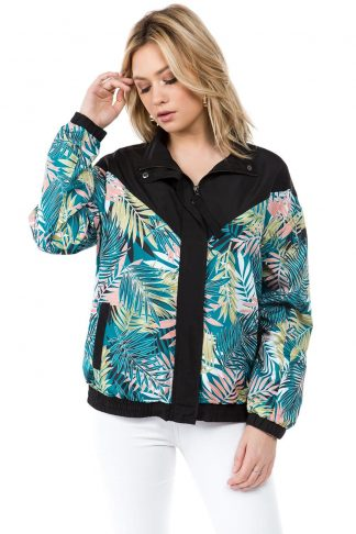 Black Palm Print Windbreaker