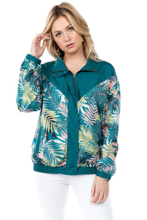 Teal Palm Print Windbreaker