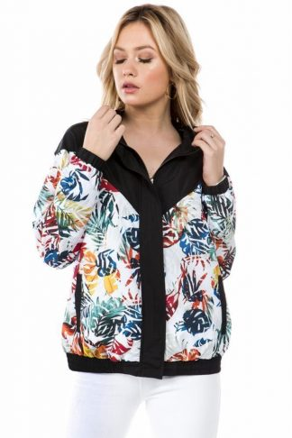 Black Floral Print Windbreaker