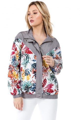 Grey Floral Print Windbreaker