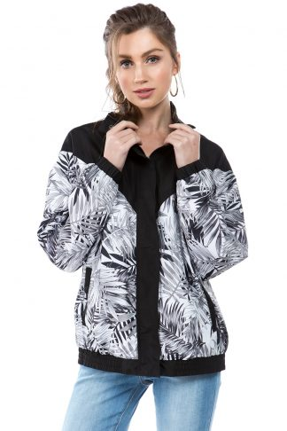 Black Monochrome Palm Print Windbreaker