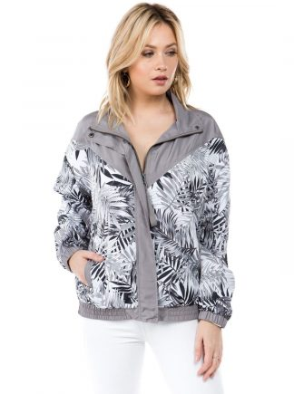 Grey Monochrome Palm Print Windbreaker