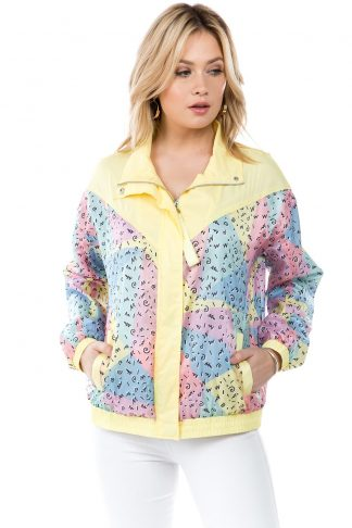 Yellow 90s Squiggle Print Windbreaker