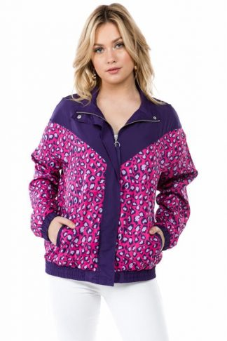 Purple Cheetah Print Windbreaker