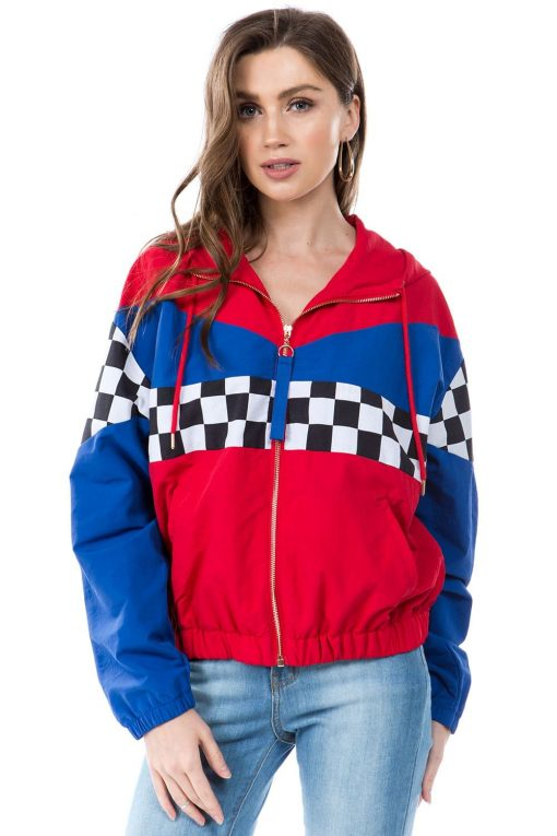 Blue & Red Horizontal Racing Windbreaker