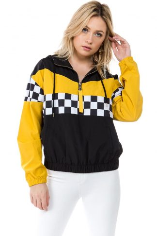 Black & Yellow Horizontal Racing Windbreaker