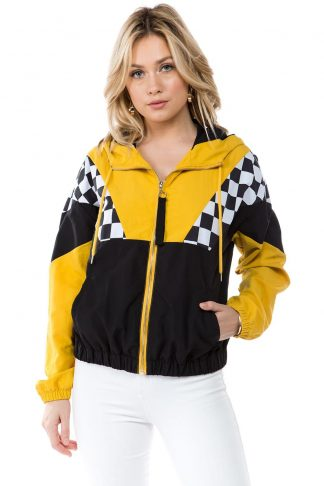 Black & Yellow Vertical Racing Windbreaker