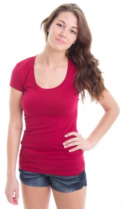Scoop Neck Tee - Burgundy