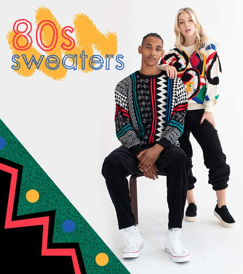guy and girl wearing vintage 80s sweaters