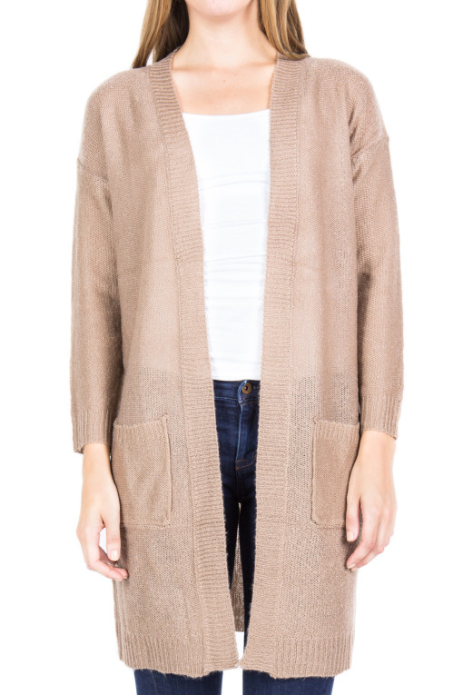 beige open cardigan