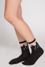 black cat anklet sock