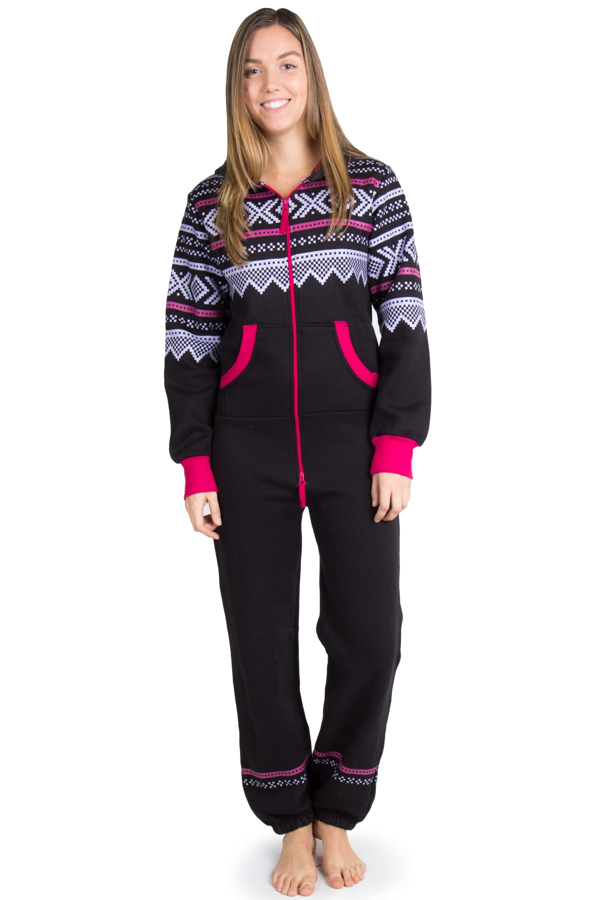 black fair isle onesie pajamas