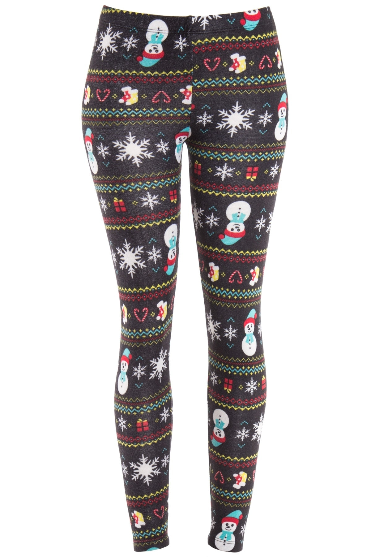 black snowman fair isle leggings