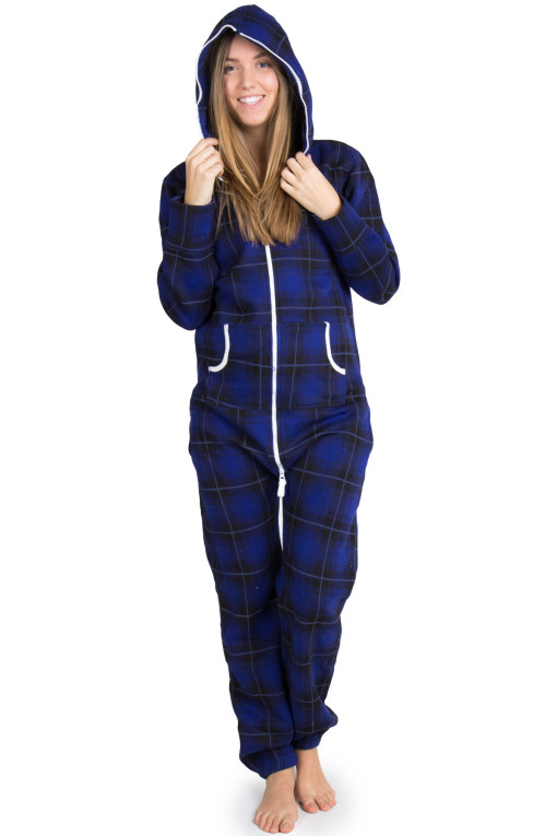 blue plaid onesie pajamas