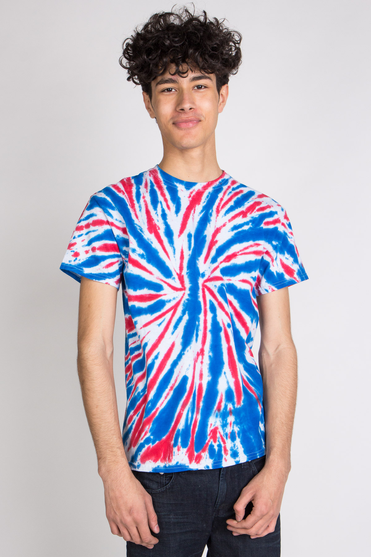 blue red and white swirl tie dye tee shirt
