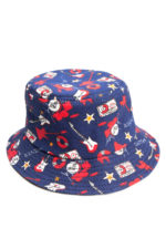blue rock and roll bucket hat