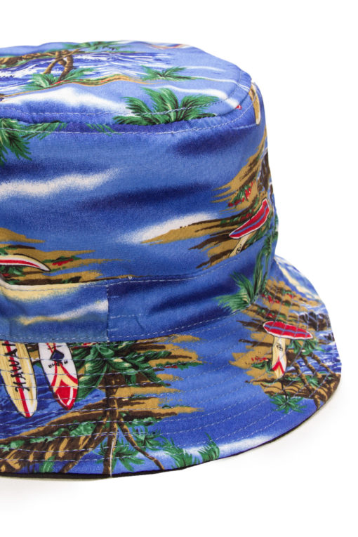blue tropical bucket hat