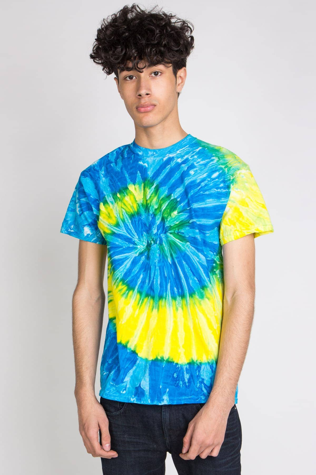 blue and yellow swirl tie dye tee shirt