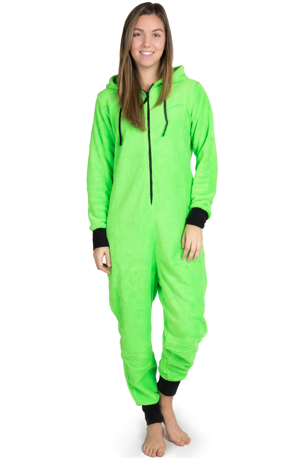 bright green onesie pajamas