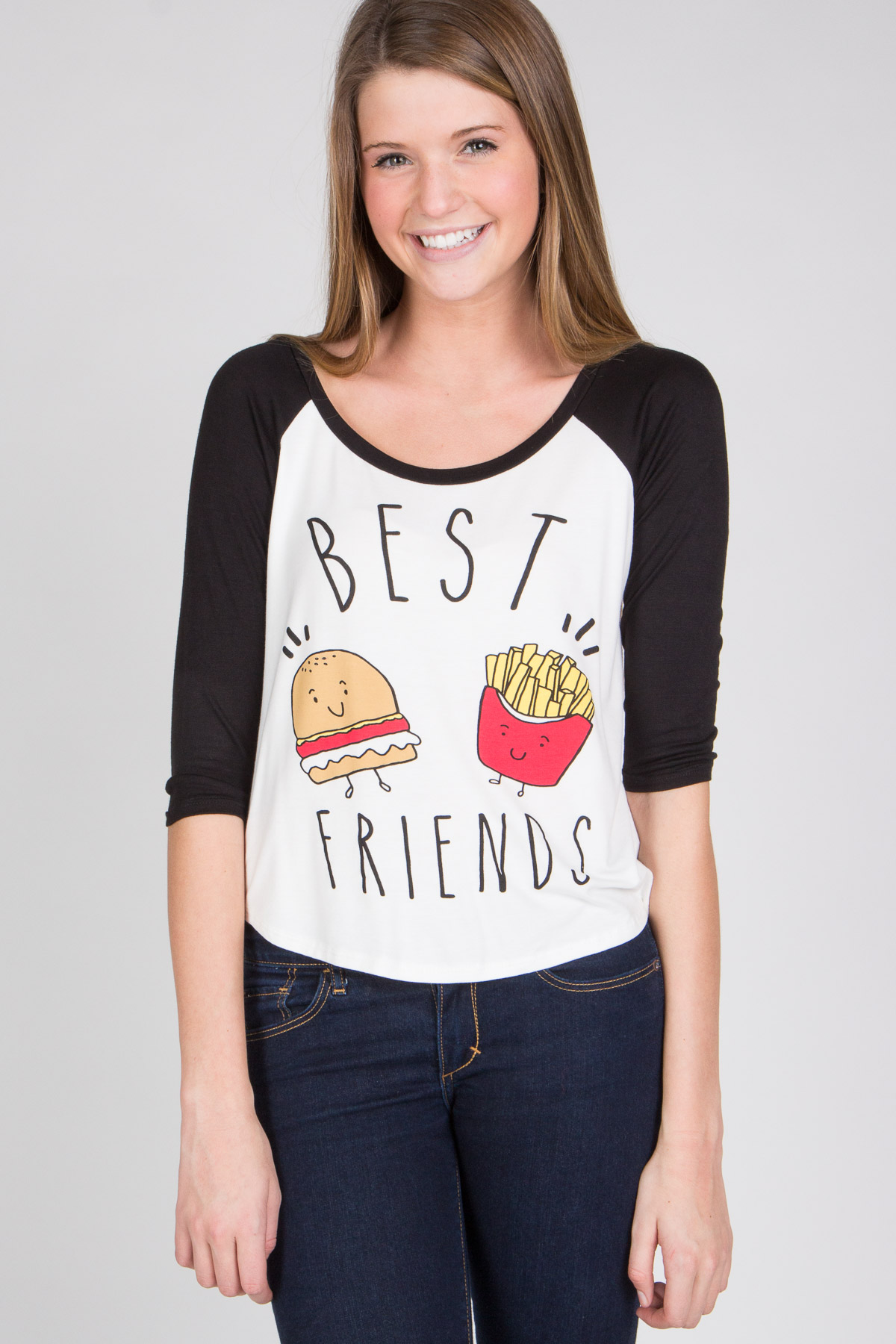 burger and fries best friends baseball tee