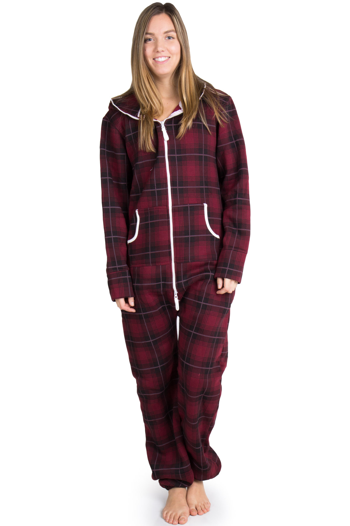burgundy plaid onesie pajamas