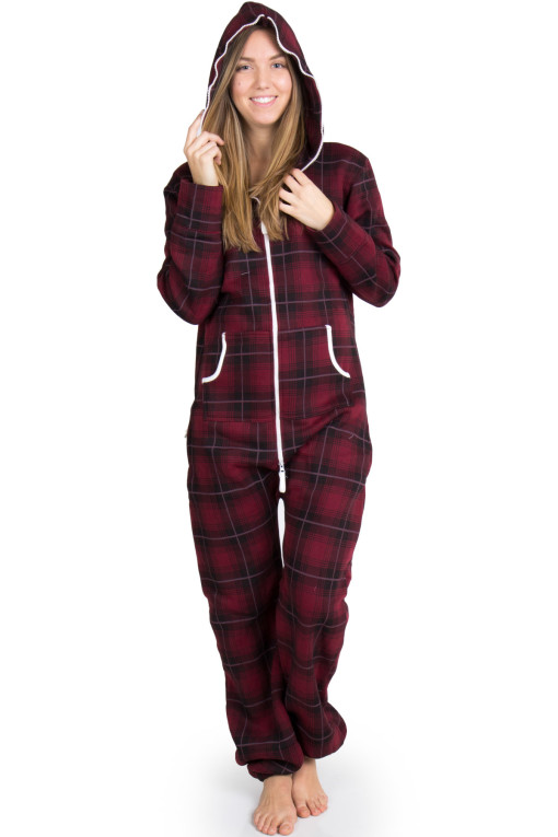 burgundy plaid onesie pajamasv