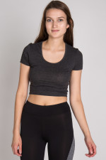 charcoal cropped crew tee