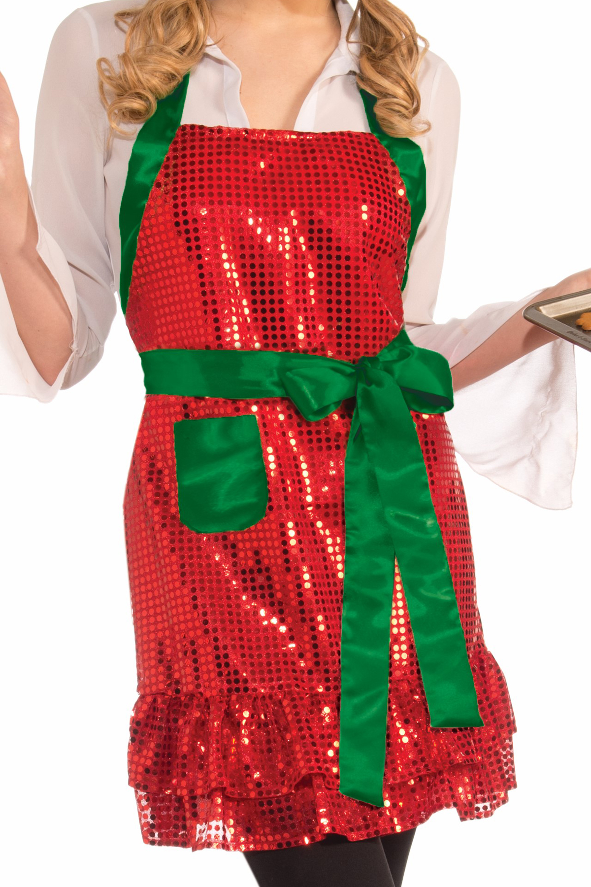 red and green sequin christmas apron
