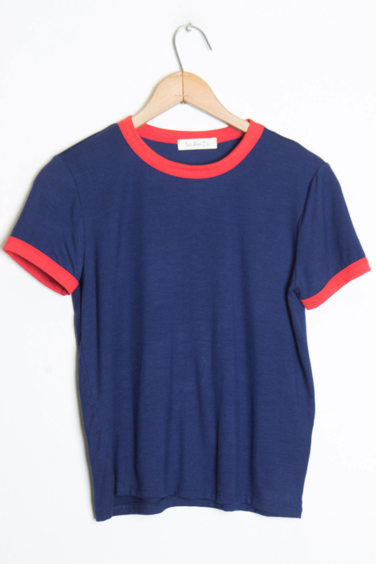 blue gold ringer tee