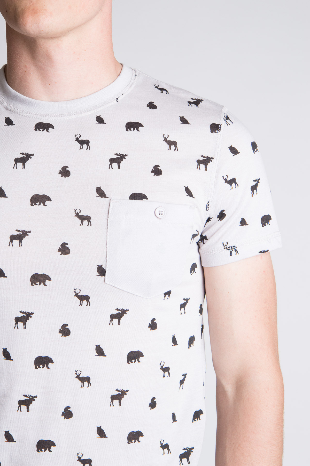 forest animal icon printed tee