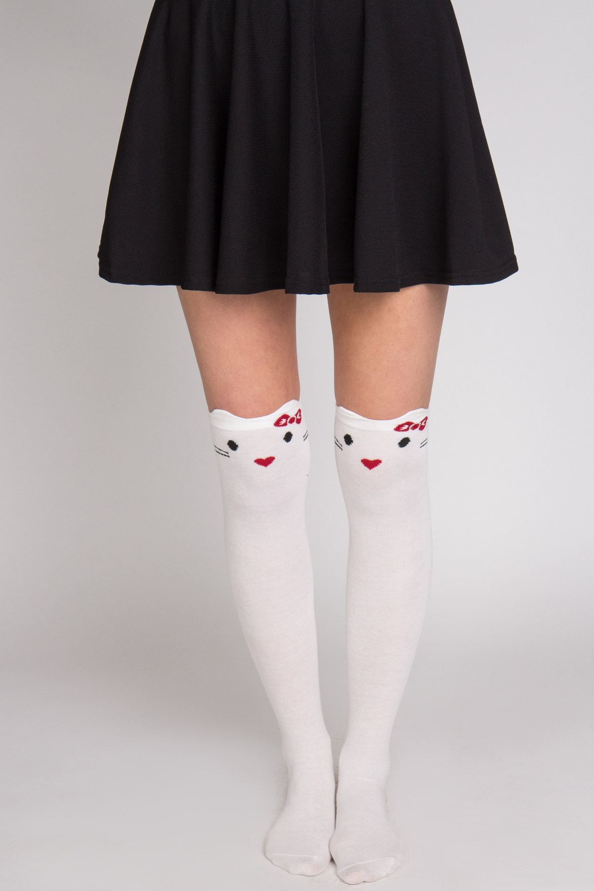 white kitty knee high socks