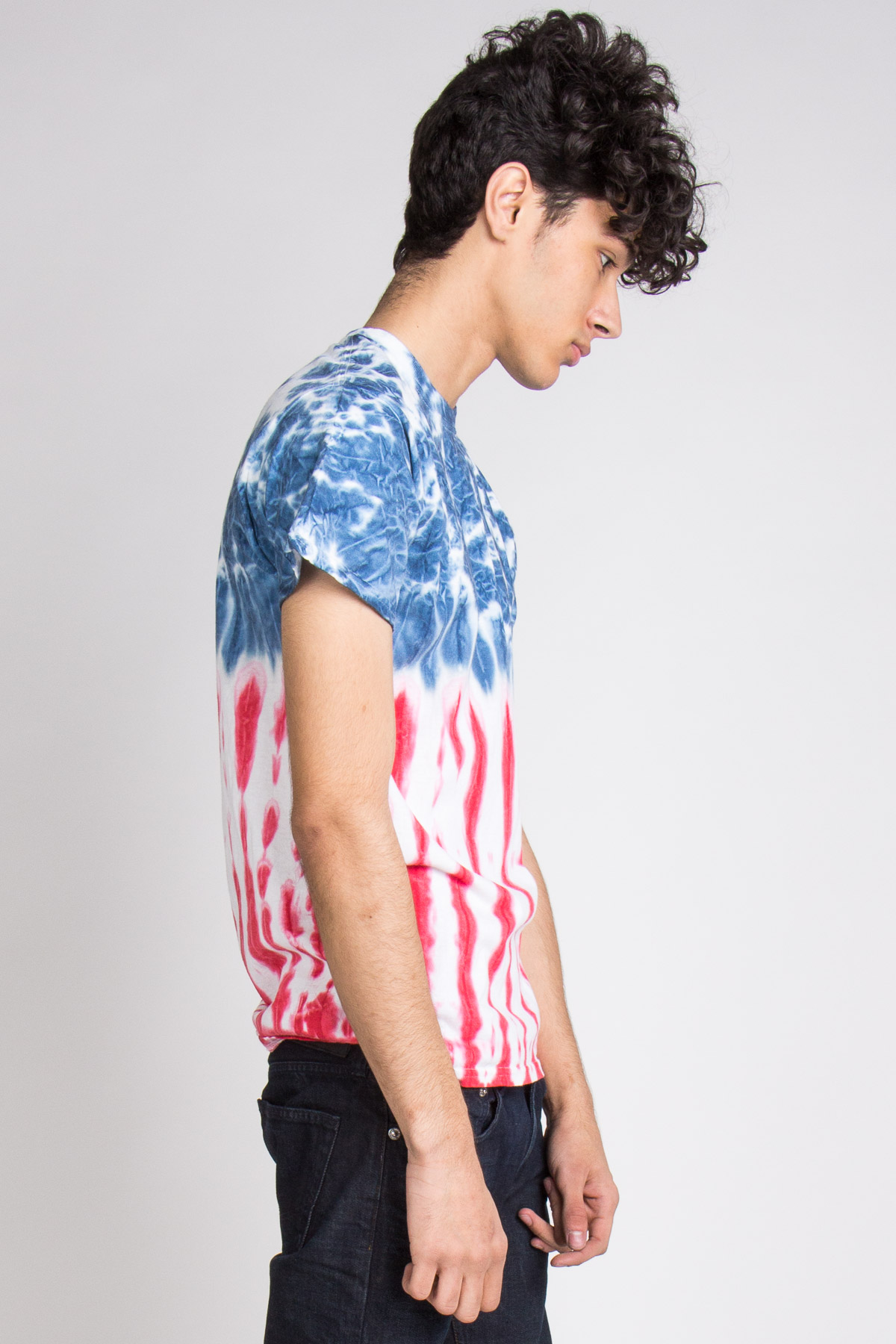 half blue red and white tie dye tee shirt