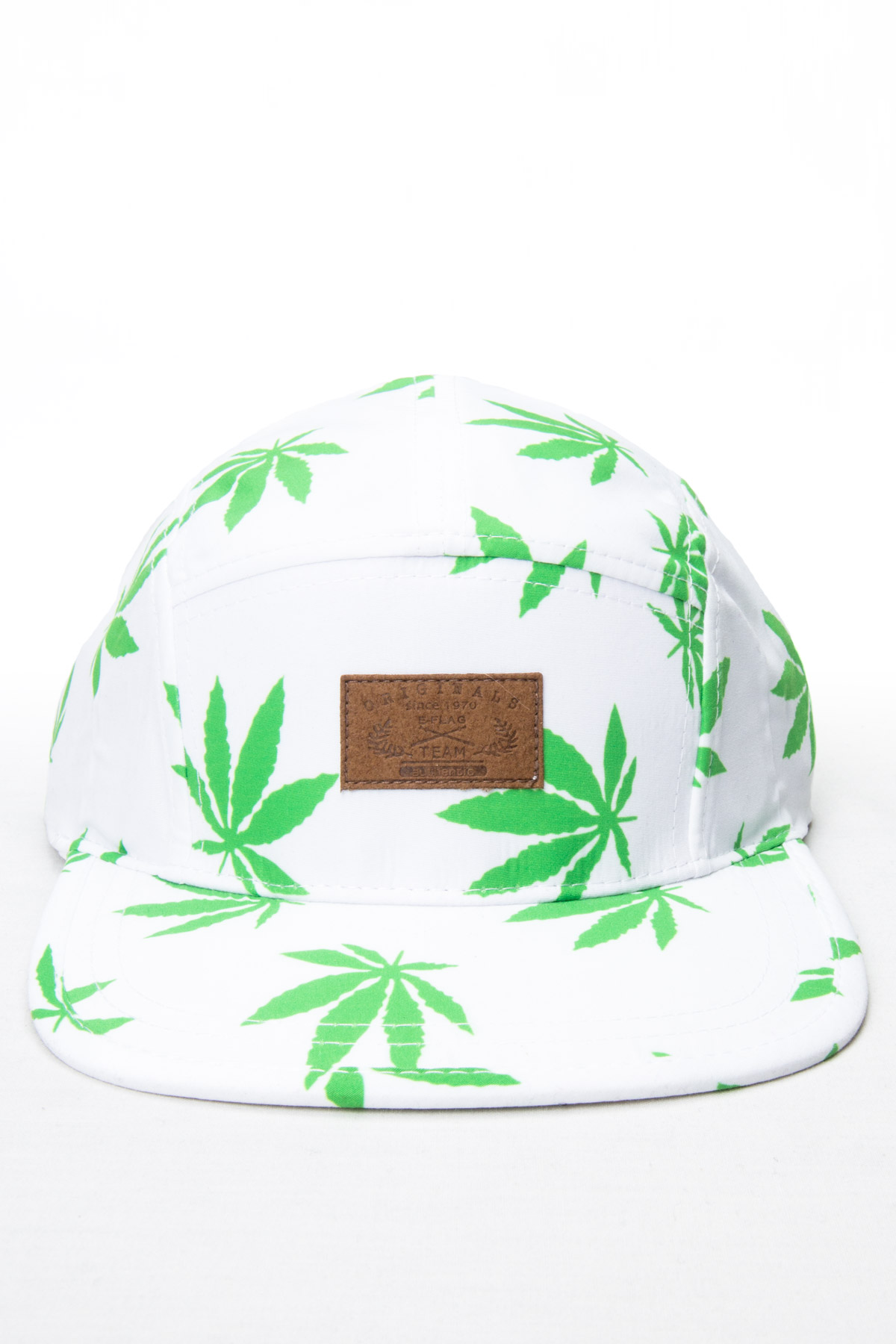 marijuana leaf white 5 panel hat