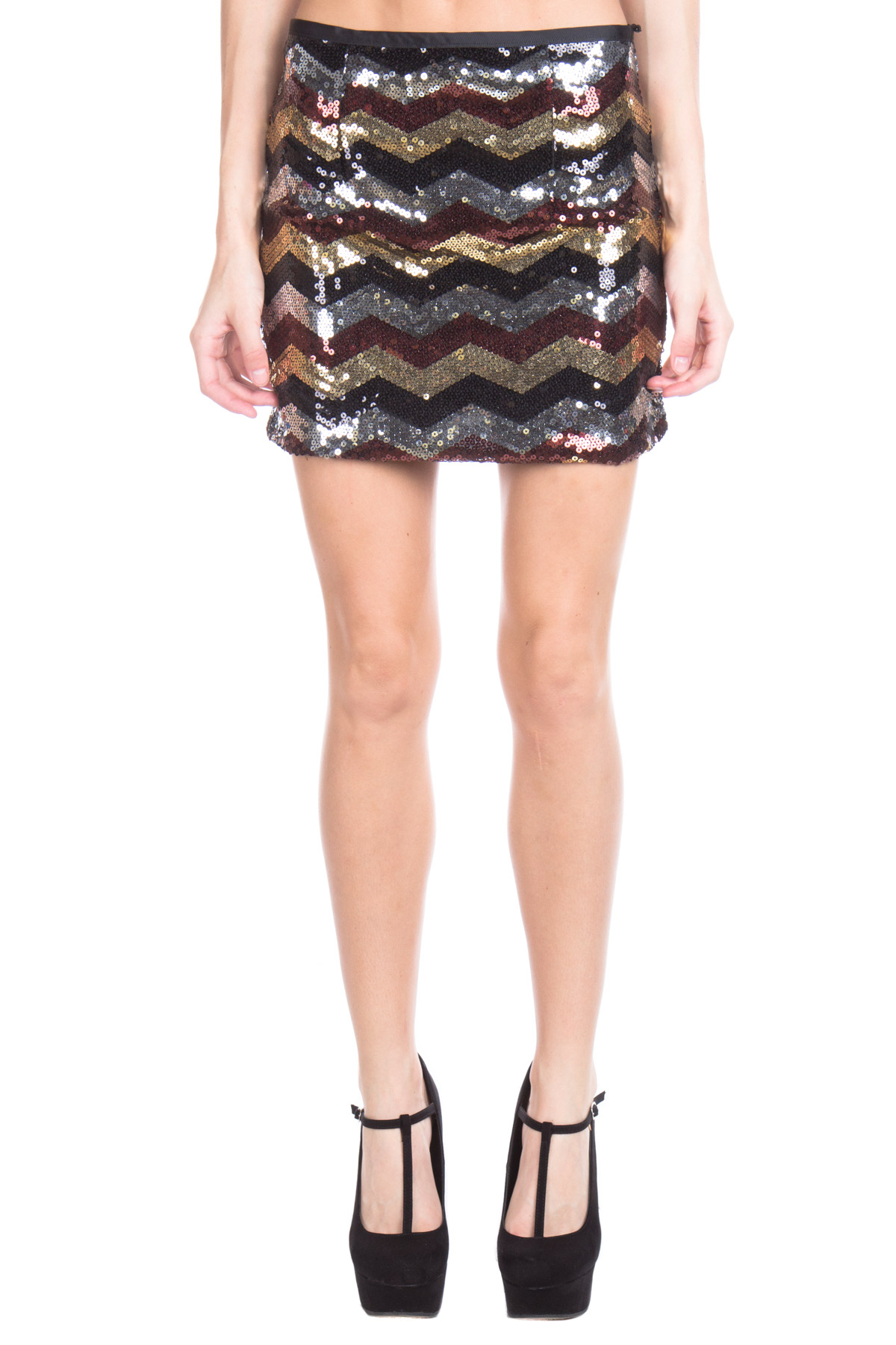 metallic chevron sequin skirt
