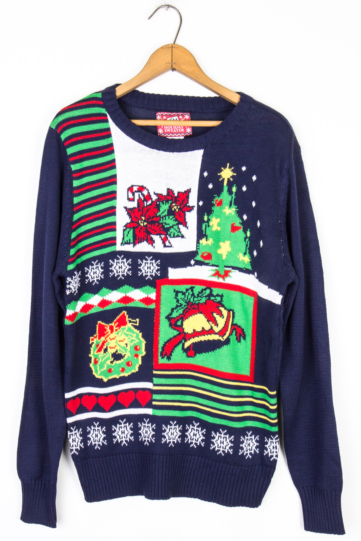 navy tree and wreath ugly christmas sweater