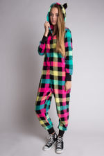 Neon Plaid Onesie Pajamas