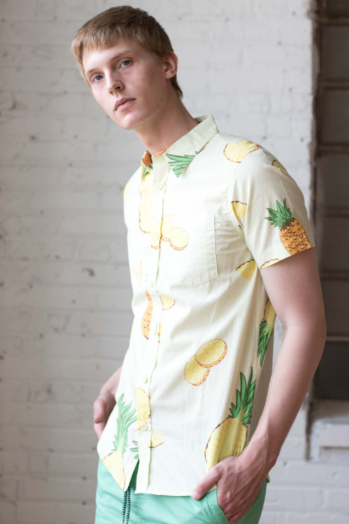 Pineapple Slices Woven Button Up Shirt