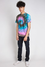 Pink Brown Blue Swirl Tie Dye Tee Shirt