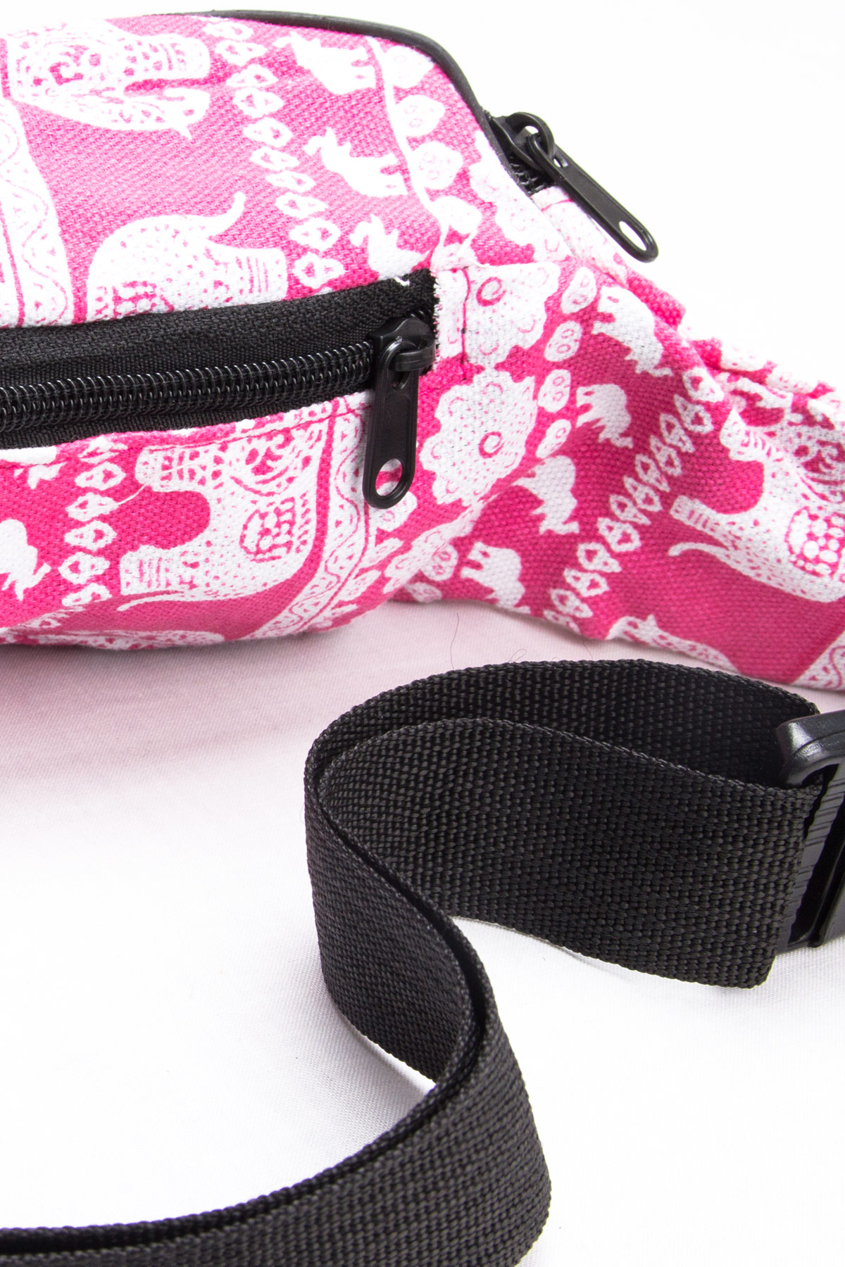 pink elephant print fanny pack
