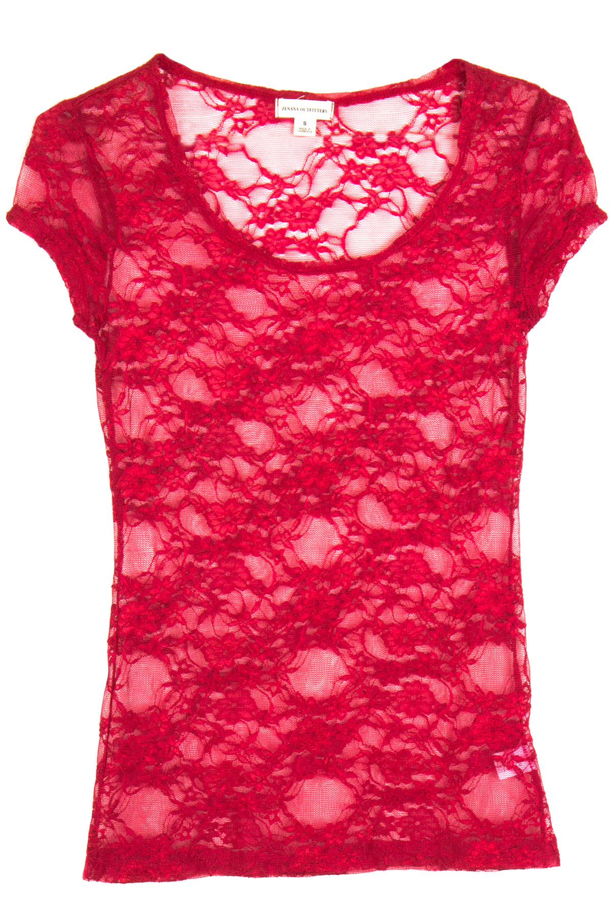 red floral lace short sleeve sheer top