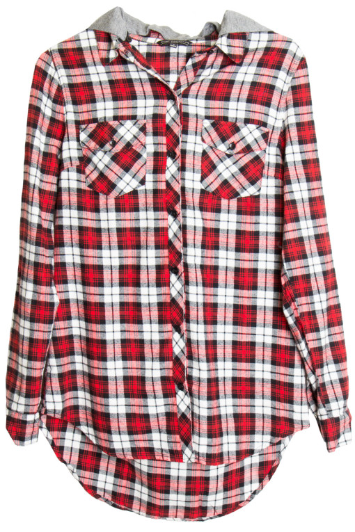 red hoodie flannel