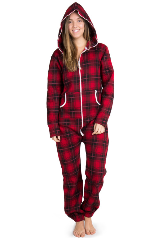 red plaid onesie pajamas