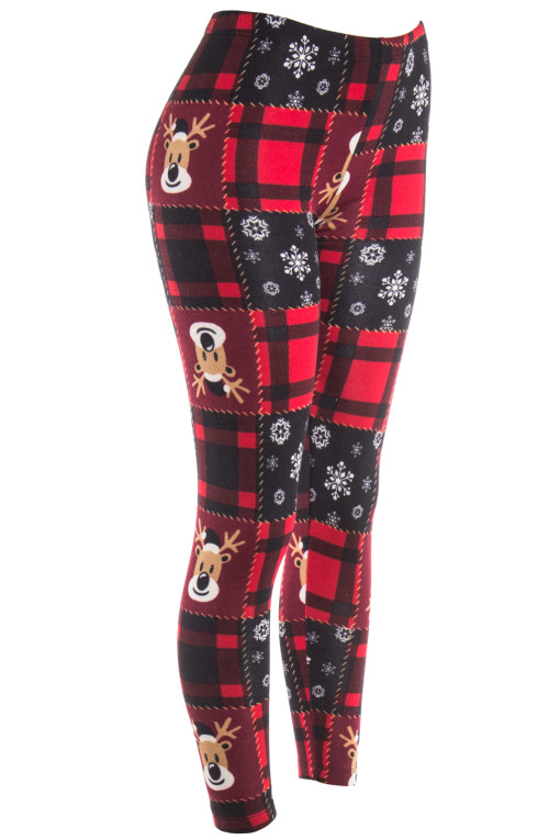 red plaid reindeer leggings